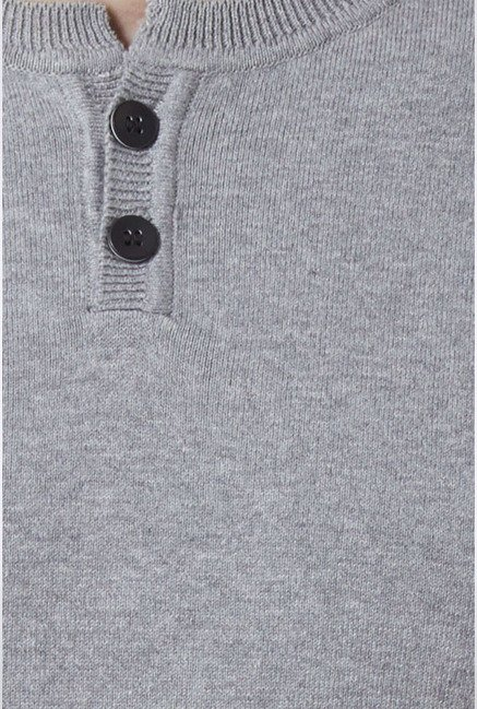Peter England Grey Solid Henley T-Shirt