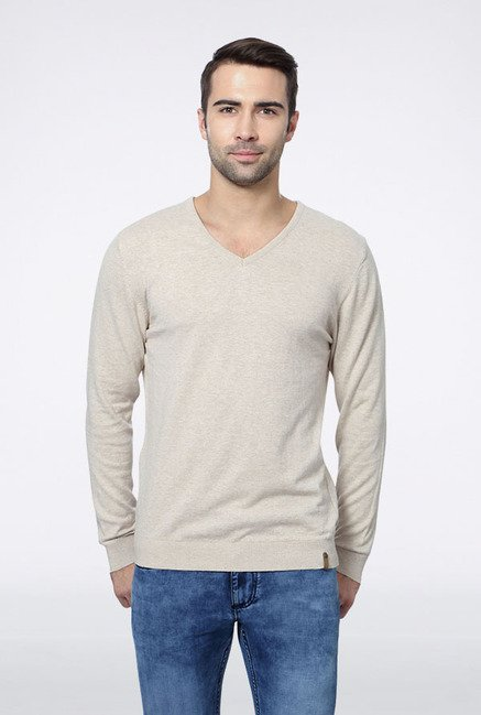 Peter England Beige Solid Sweater