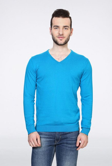 Peter England Turquoise Solid Sweater