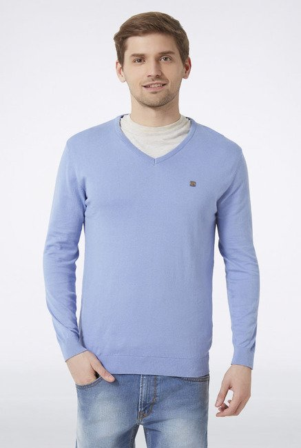 Peter England Light Blue Solid Sweater