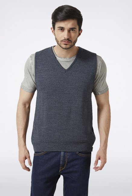 Peter England Grey Sleeveless Sweater