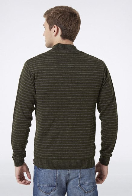 Peter England Green Striped Zip-Up Sweater