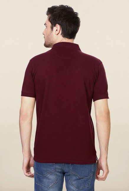 Allen Solly Maroon Solid Polo T-Shirt