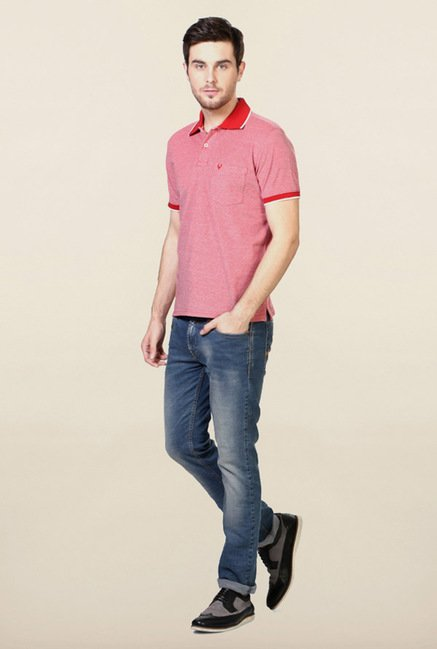 Allen Solly Red Solid Polo T-Shirt