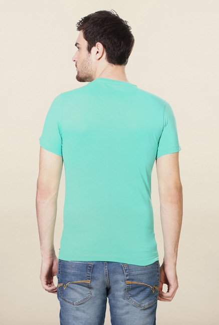 Peter England Turquoise Graphic Print T-Shirt