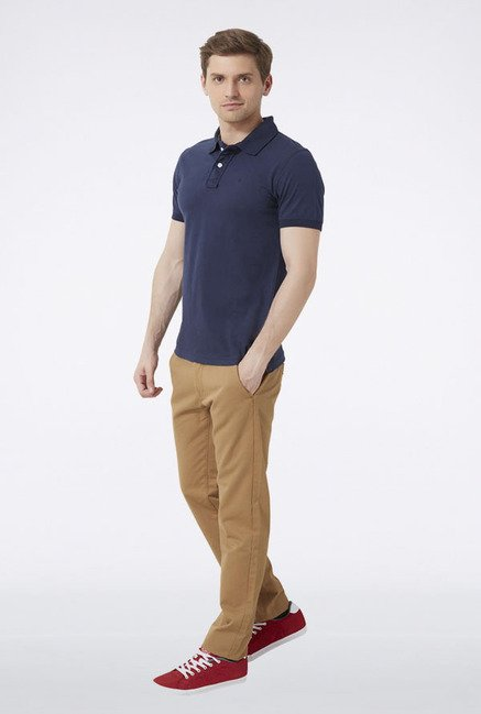 Peter England Navy Solid Polo T-Shirt