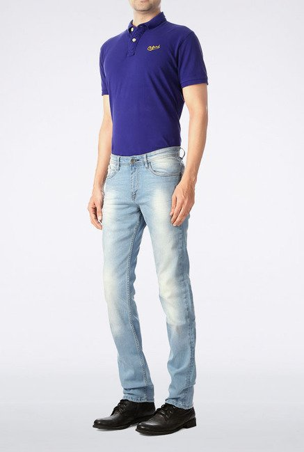 Allen Solly Sky Blue Heavily Washed Jeans