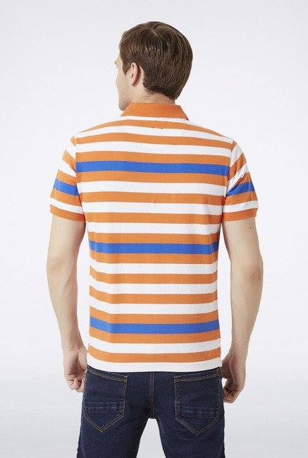 Peter England Orange Striped Polo T-Shirt