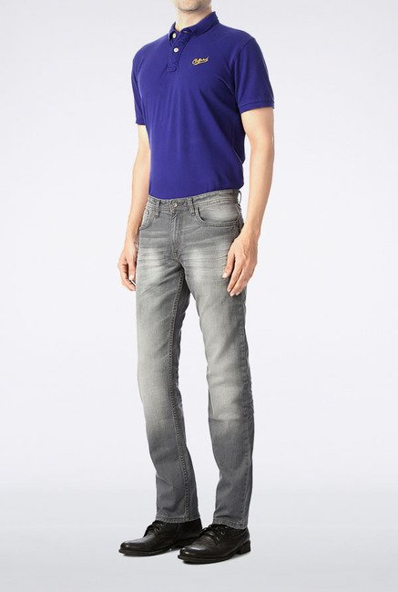 Allen Solly Grey Lightly Washed Jeans