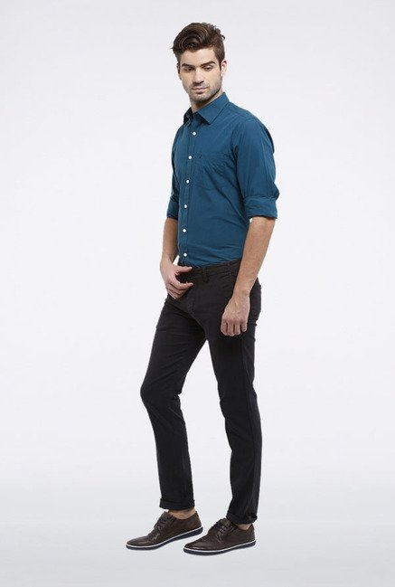 Allen Solly Black Slim Fit Casual Trouser
