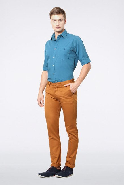 Allen Solly Brown Slim Fit Casual Trouser