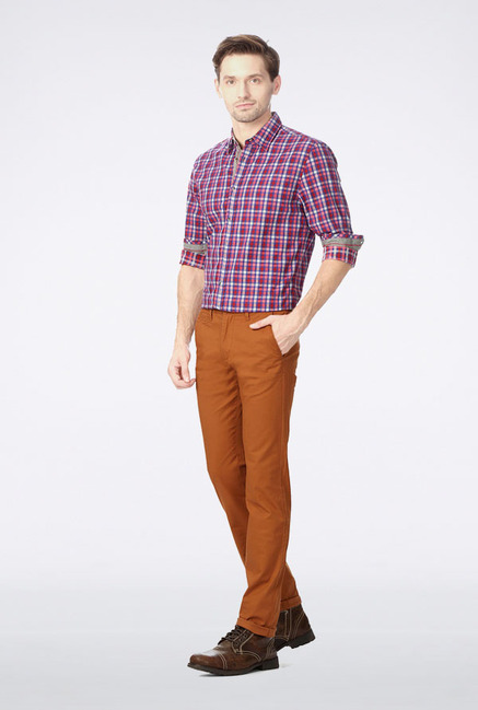 Peter England Brown Slim Fit Casual Trouser