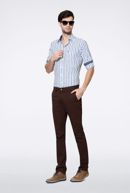 Allen Solly Dark Brown Solid Casual Trouser