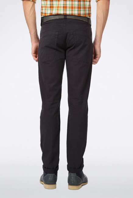 Peter England Dark Grey Solid Casual Trouser