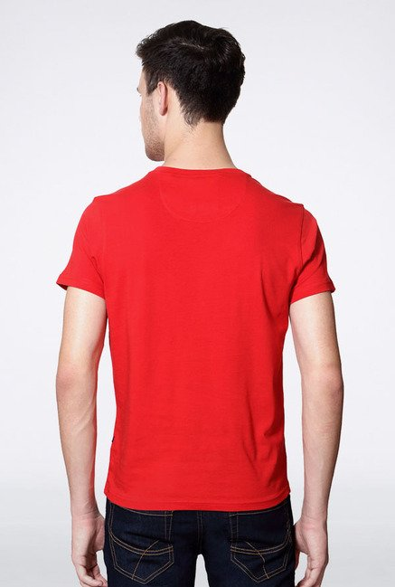 Allen Solly Red Graphic Print T-Shirt