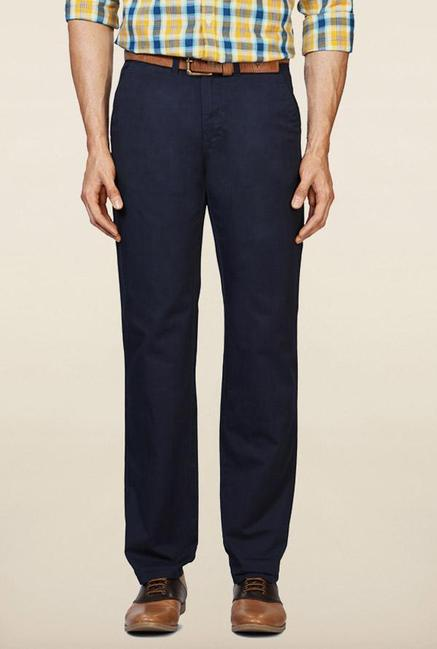 Peter England Navy Solid Casual Trouser