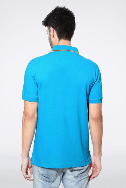 Peter England Sky Blue Solid Polo T-Shirt