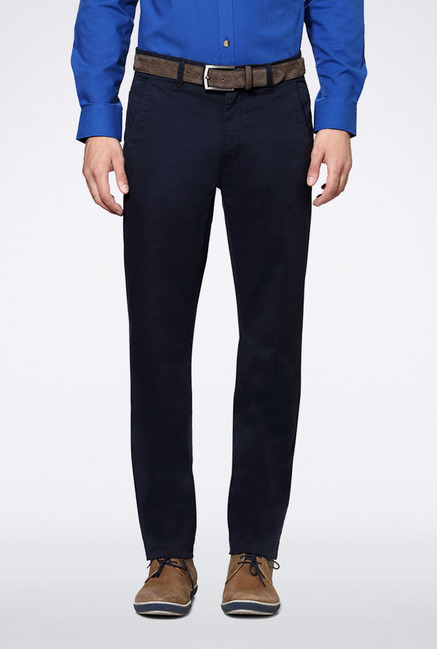 Peter England Navy Slim Fit Casual Trouser