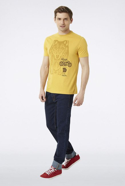 Peter England Yellow Printed T-Shirt