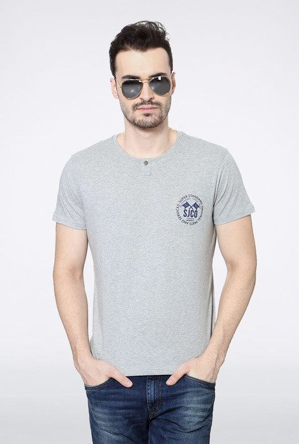 Allen Solly Grey Solid T-Shirt