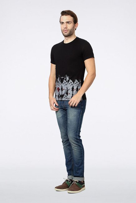 Peter England Black Printed T-Shirt