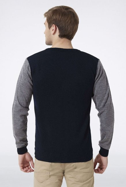 Peter England Grey Front Open Sweater
