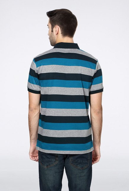 Allen Solly Navy & Grey Striped Polo T-Shirt