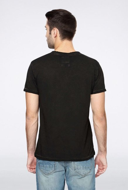 Peter England Dark Grey Solid T-Shirt
