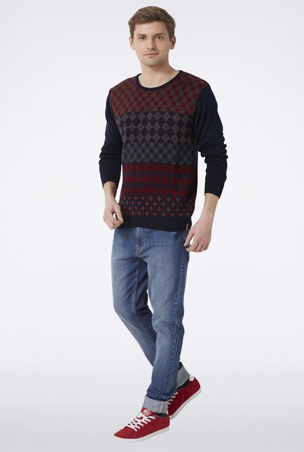 Peter England Navy Argyle Sweater
