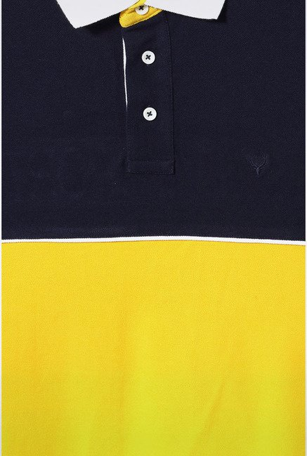 Allen Solly Yellow & Black Solid Polo T-Shirt