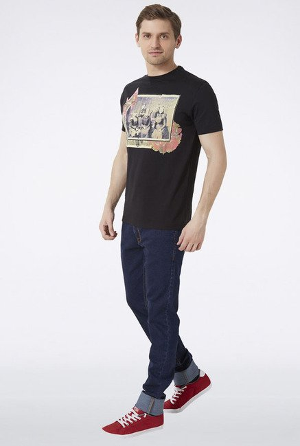 Peter England Black Graphic Print T-Shirt