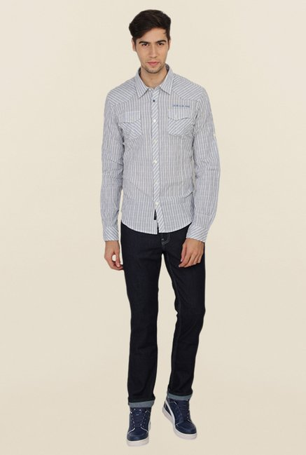 Calvin Klein Grey Striped Casual Shirt