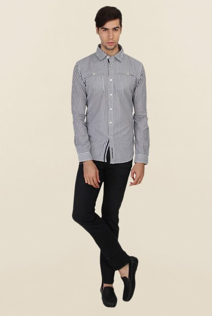 Calvin Klein Grey Cotton Striped Casual Shirt