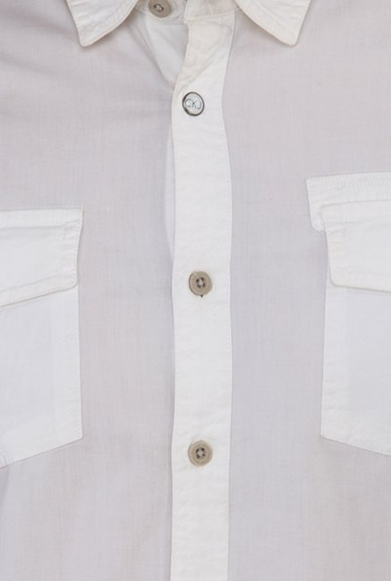 Calvin Klein White Solid Cotton Casual Shirt