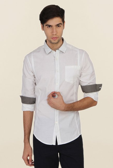 Calvin Klein White Cotton Casual Shirt