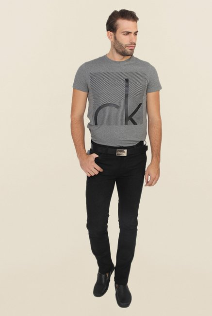 Calvin Klein Black Regular Fit Cotton Jeans