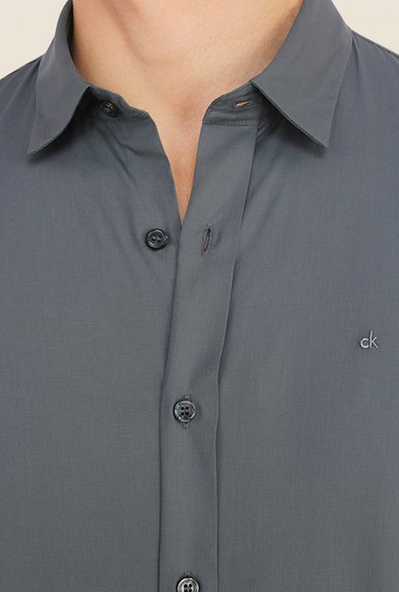 Calvin Klein Grey Solid Cotton Casual Shirt