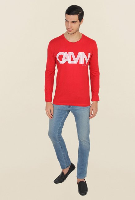 Calvin Klein Red Printed T Shirt