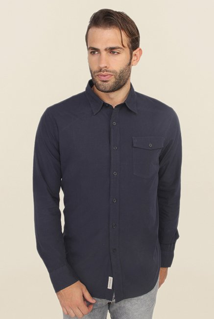 Calvin Klein Navy Solid Casual Shirt