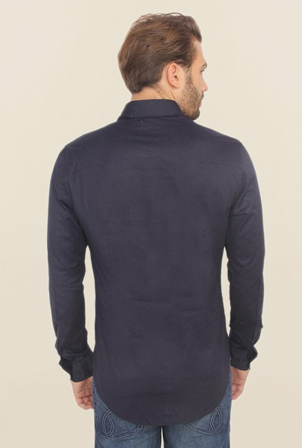 Calvin Klein Navy Solid Cotton Casual Shirt