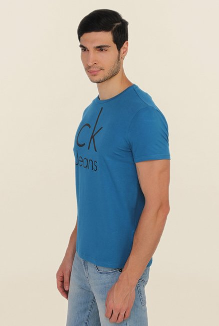 Calvin Klein Blue Printed Cotton T Shirt