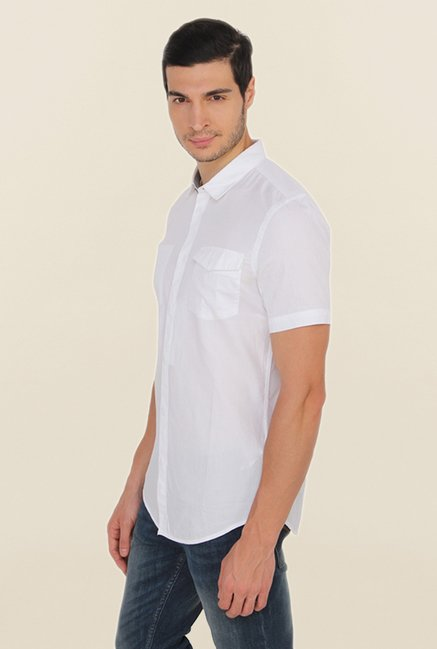 Calvin Klein White Slim Fit Casual Shirt