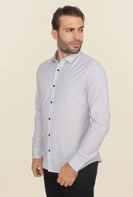 Calvin Klein White Self Print Casual Shirt