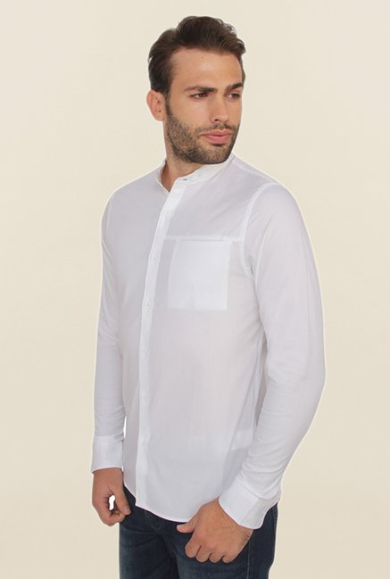 Calvin Klein White Cotton Slim Fit Casual Shirt