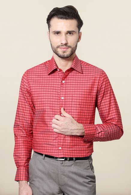 Peter England Red Checks Cotton Shirt