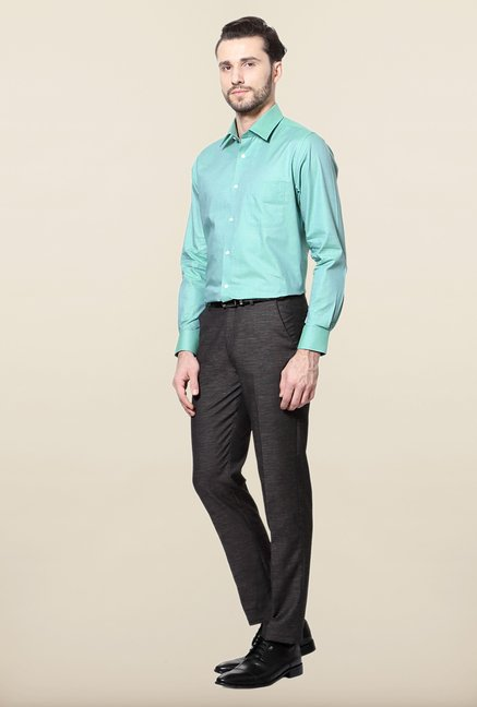 Peter England Green Solid Cotton Formal Shirt