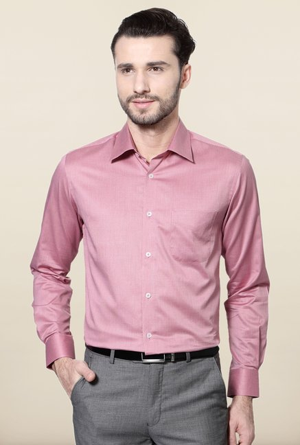 Peter England Pink Checks Cotton Formal Shirt