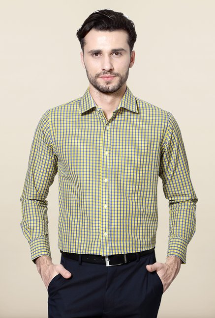 Peter England Yellow & Blue Cotton Formal Shirt