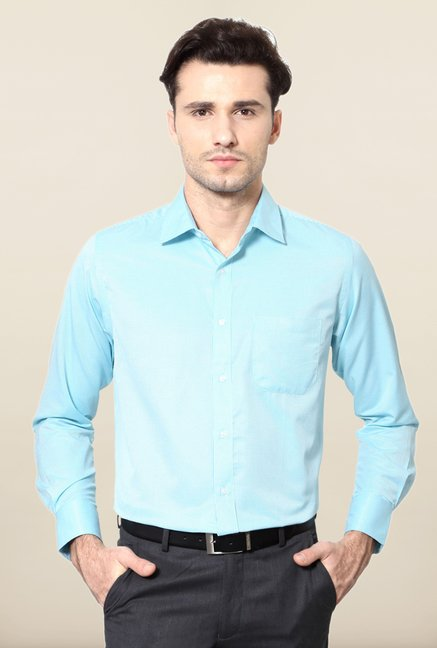Peter England Turquoise Checks Formal Shirt