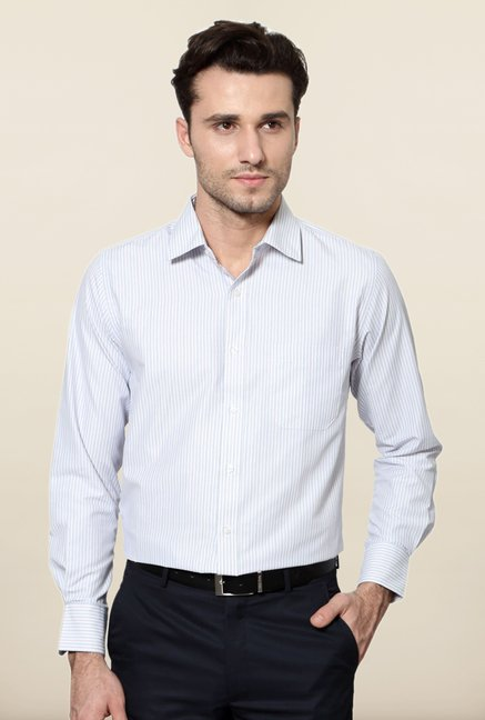 Peter England White Striped Slim Fit Formal Shirt